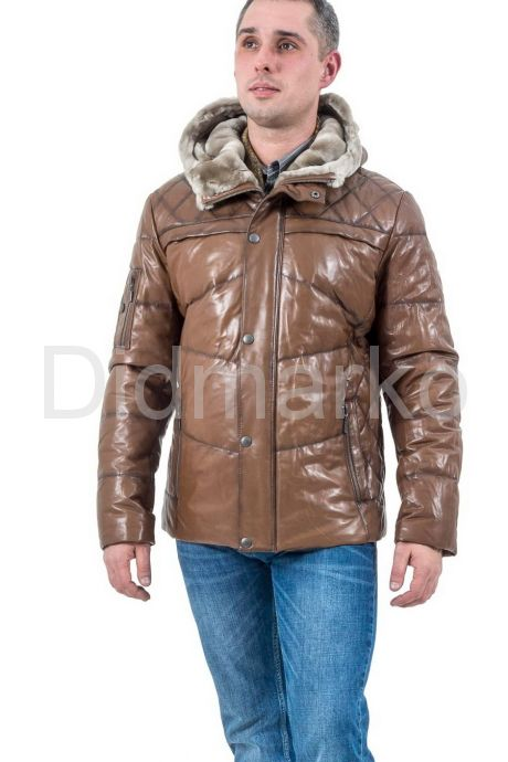 Мужской кожаный пуховик коричневого цвета. Фото 1.