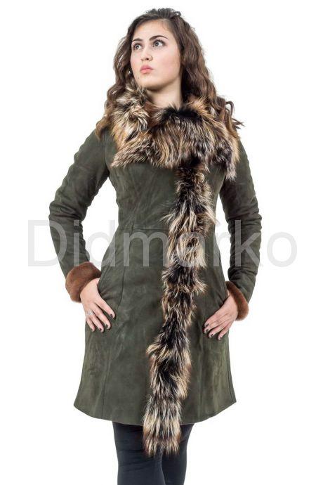 Модная дубленка с красивым мехом. Фото 1.
