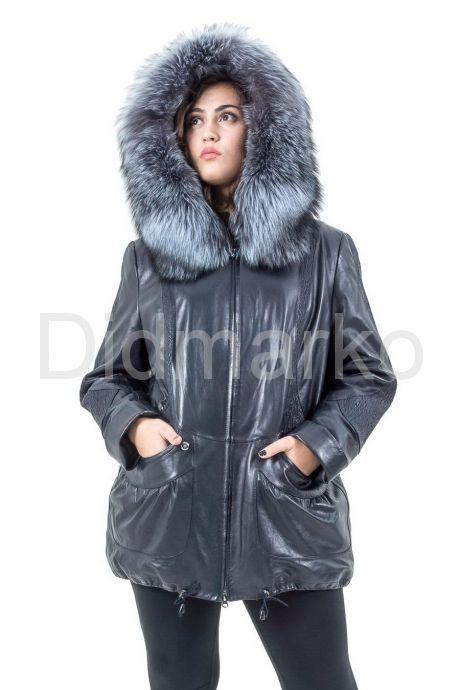 Удлиненная кожаная куртка с мехом чернобурки. Фото 8.