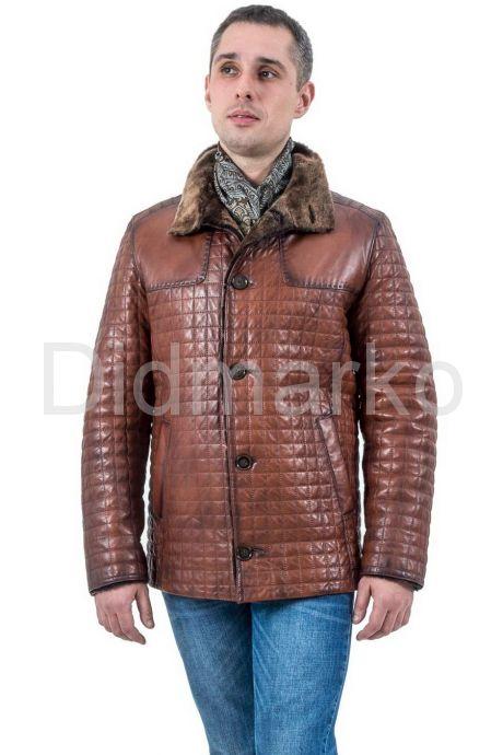 Мужская стеганная дубленка коричневого цвета. Фото 1.