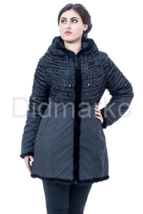 Оригинальная куртка с оторочкой из вязаной норки. Фото 1.