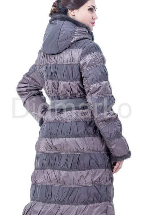 Комбинированное пальто светлого цвета. Фото 2.
