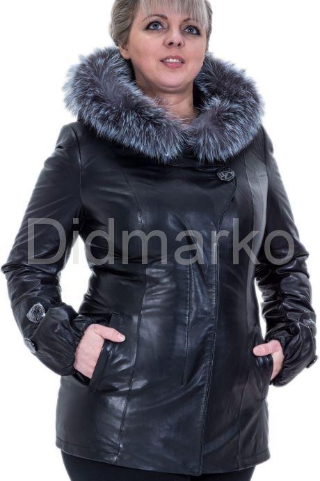 Кожаная куртка с мехом чернобурки. Фото 1.