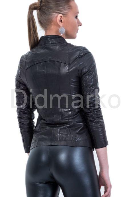 Кожаная куртка с оригинальным воротом. Фото 2.