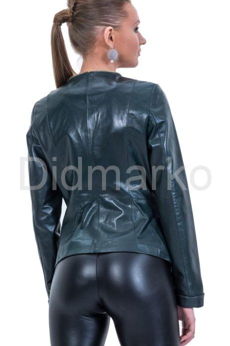 Кожаная куртка зеленого цвета. Фото 2.