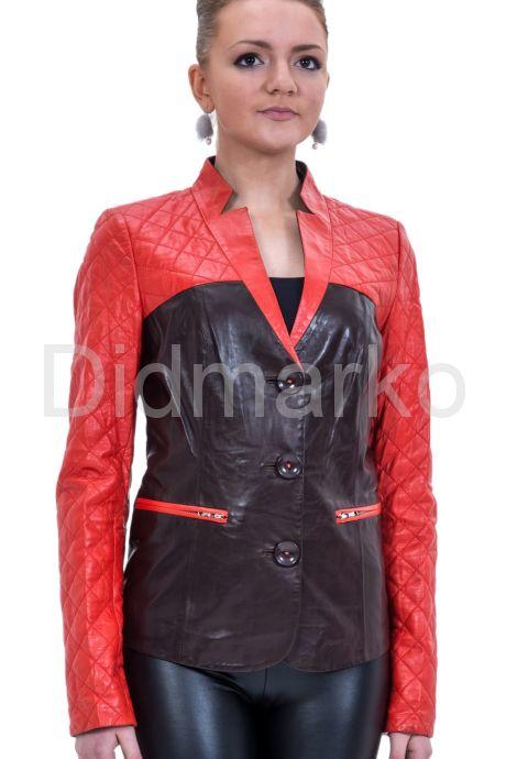 Оригинальная кожаная куртка красно-бордового цвета. Фото 1.