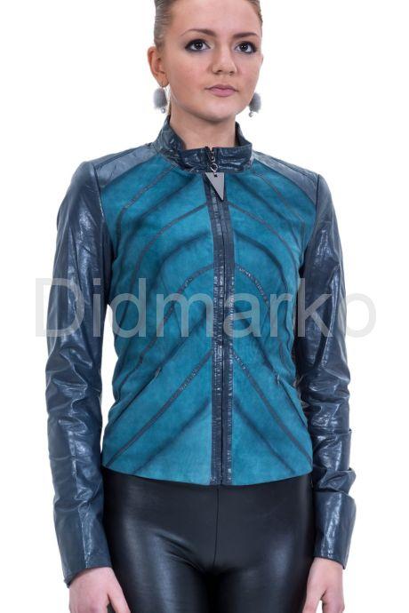 Комбинированная кожаная куртка синего цвета. Фото 1.