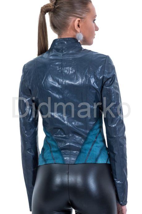 Комбинированная кожаная куртка синего цвета. Фото 2.
