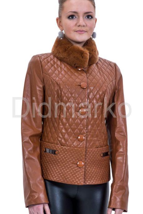 Стеганый кожаный пиджак с мехом. Фото 1.