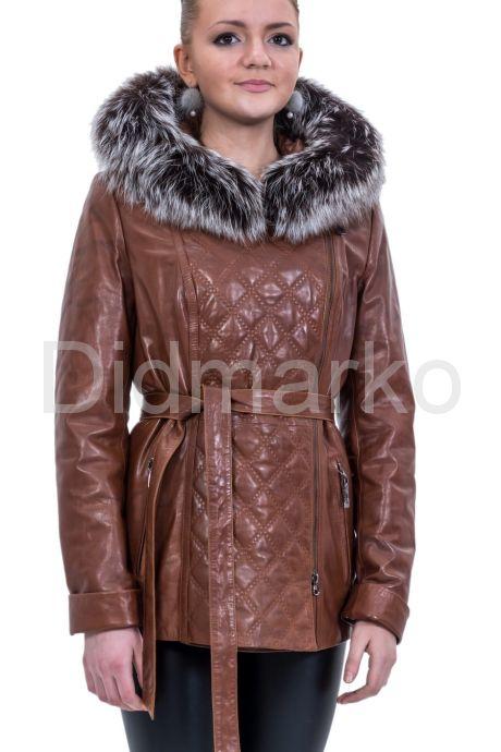 Кожаная куртка с капюшоном и мехом чернобурки. Фото 1.