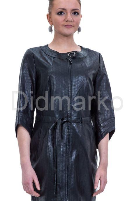 Черный кожаный плащ перфорированный. Фото 1.