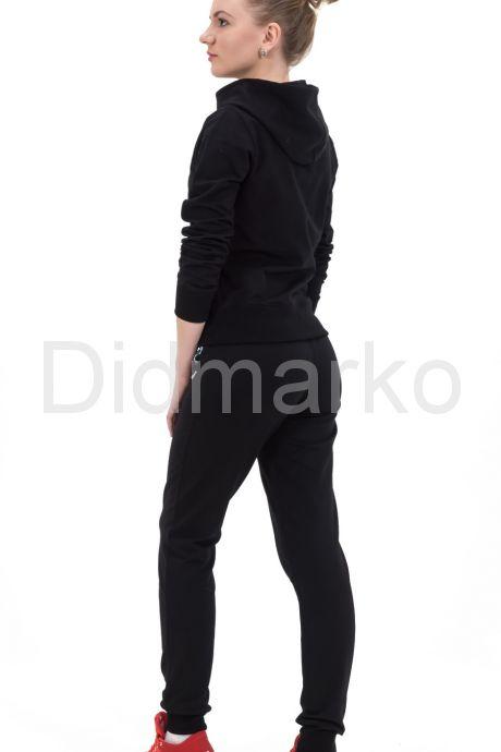 Молодежный спортивный костюм черного цвета с капюшоном. Фото 2.