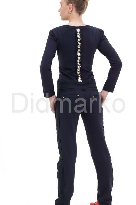 Стильный спортивный костюм со стразами темно-синего цвета. Фото 2.