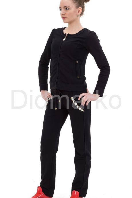 Молодежный костюм черного цвета со стразами. Фото 1.