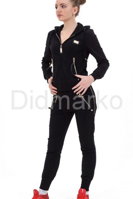 Стильный молодежный костюм черного цвета с капюшоном. Фото 1.