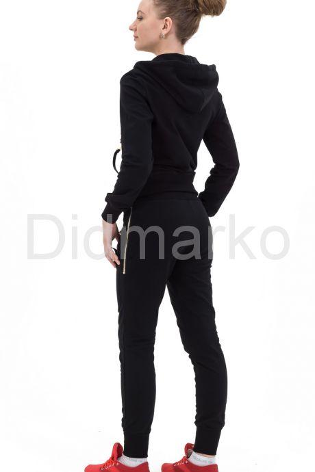 Стильный молодежный костюм черного цвета с капюшоном. Фото 2.