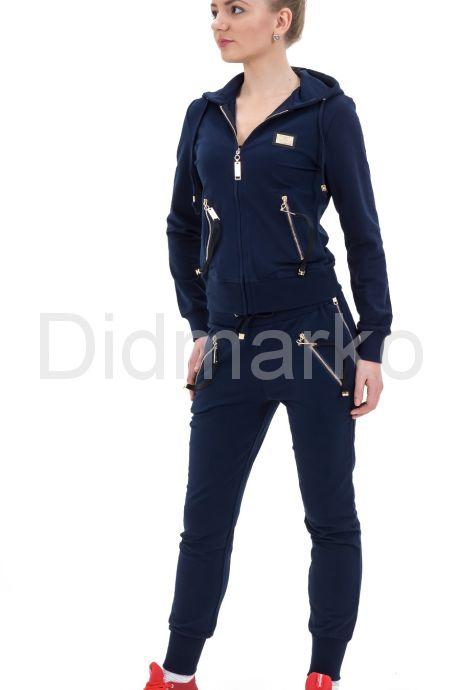Модный молодежный спортивный костюм темно-синего цвета с капюшоном. Фото 1.