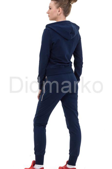 Модный молодежный спортивный костюм темно-синего цвета с капюшоном. Фото 2.