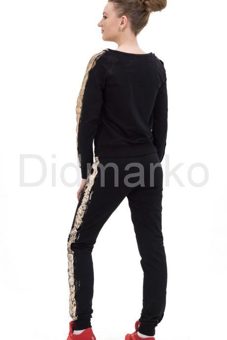 Молодежный стильный спортивный костюм черного цвета с золотым рисунком. Фото 2.