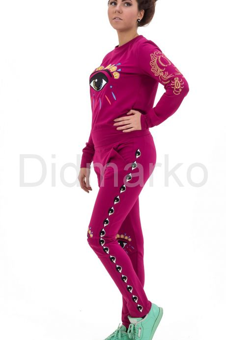 Молодежный спортивный костюм фиолетового цвета. Фото 2.