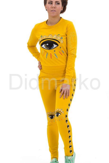 Стильный спортивный костюм ярко желтого цвета. Фото 2.
