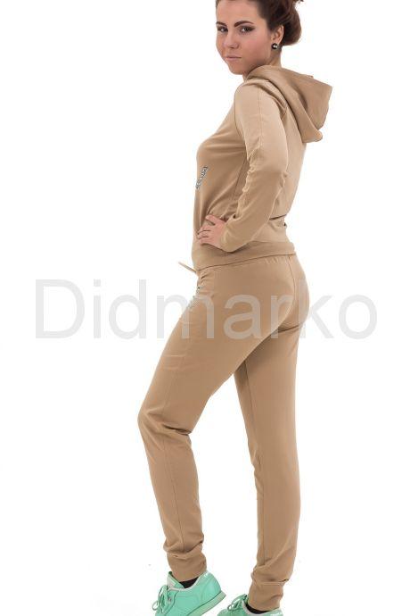 Спортивный костюм темно-бежевого цвета с капюшоном. Фото 2.