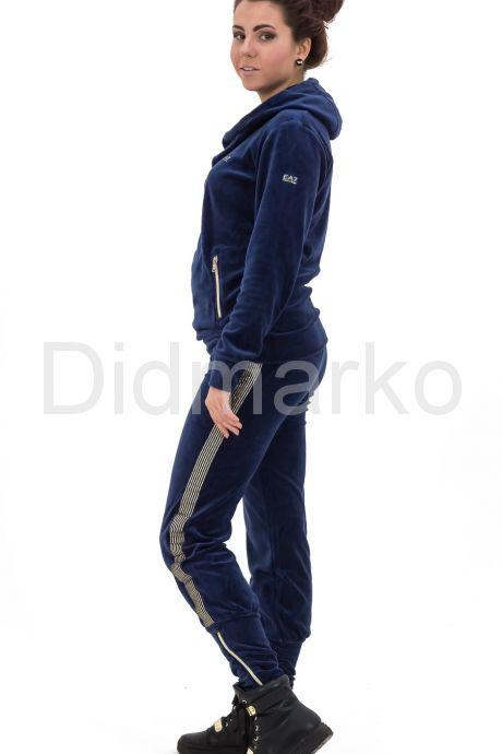 Велюровый спортивный костюм темно-синего цвета с капюшоном. Фото 2.