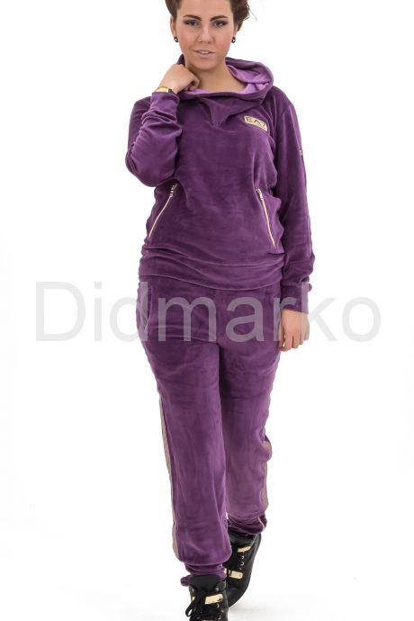 Стильный спортивный костюм фиолетового цвета с капюшоном. Фото 1.