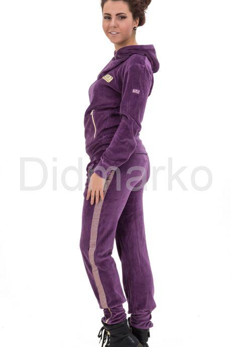 Стильный спортивный костюм фиолетового цвета с капюшоном. Фото 2.