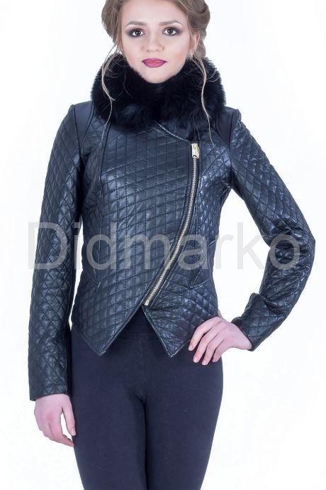 Стильная кожаная куртка с мехом. Фото 1.