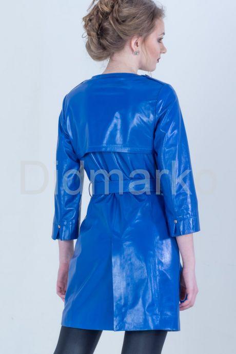 Синий кожаный плащ. Фото 2.