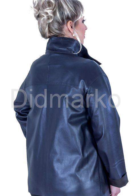 Кожаная куртка синего цвета DONNA BONITA. Фото 2.