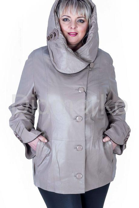 Кожаная куртка с капюшоном бежевого цвета. Фото 1.