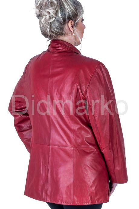 Кожаная куртка больших размеров на пуговицах. Фото 2.