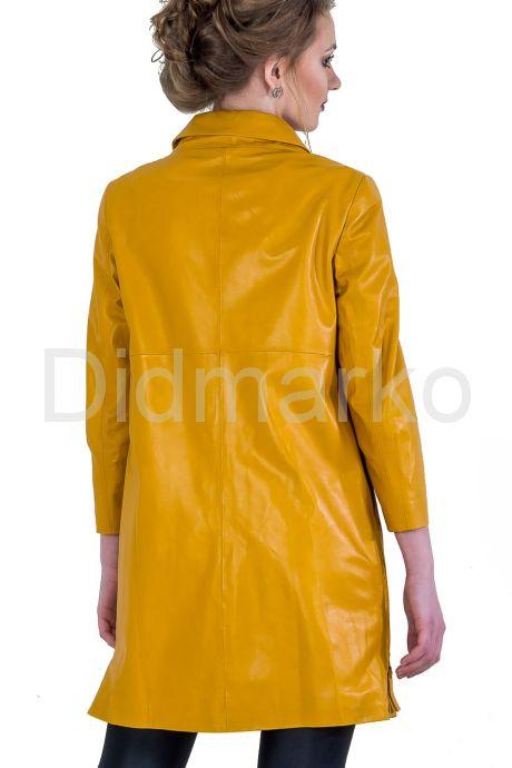 Кожаный плащ желтого цвета. Фото 2.