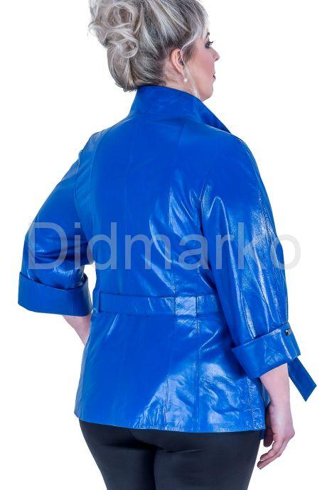 Синяя кожаная куртка больших размеров. Фото 3.