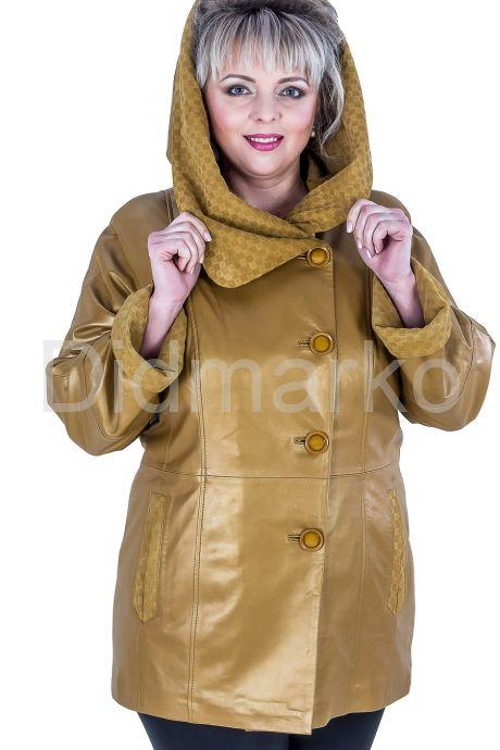 Красивая кожаная куртка больших размеров. Фото 1.