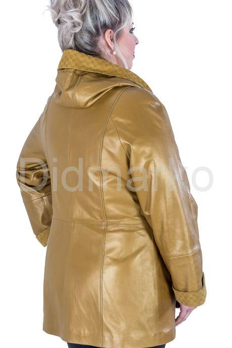 Красивая кожаная куртка больших размеров. Фото 2.