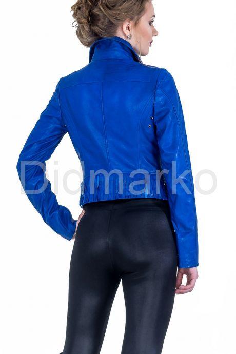 Синяя кожаная косуха. Фото 2.