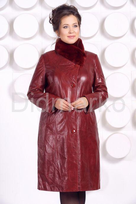 Кожаное пальто больших размеров красного цвета. Фото 5.