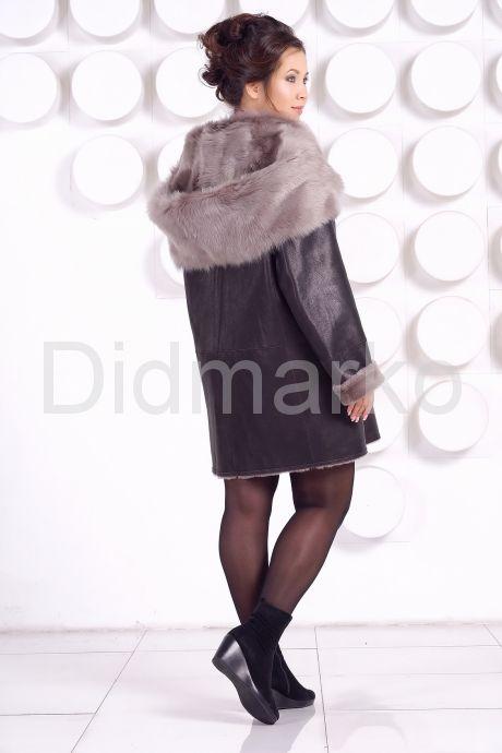 Женская дубленка большого размера с капюшоном. Фото 5.