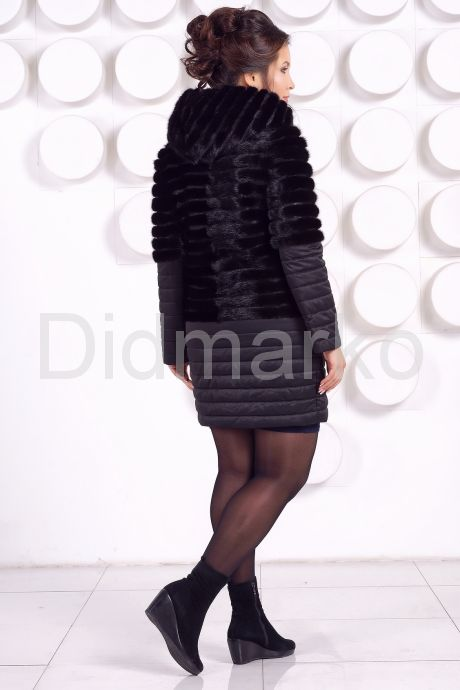Комбинированная шуба черного цвета. Фото 4.