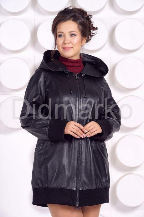Кожаная куртка с капюшоном большого размера. Фото 2.