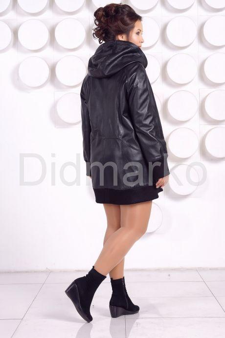Кожаная куртка с капюшоном большого размера. Фото 5.