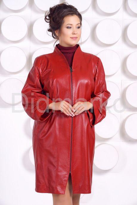 Красивый кожаный плащ больших размеров BAYAN. Фото 2.