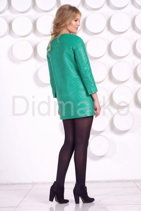 Кожаная куртка в стиле Шанель зеленого  цвета с воротником из меха песца. Фото 6.
