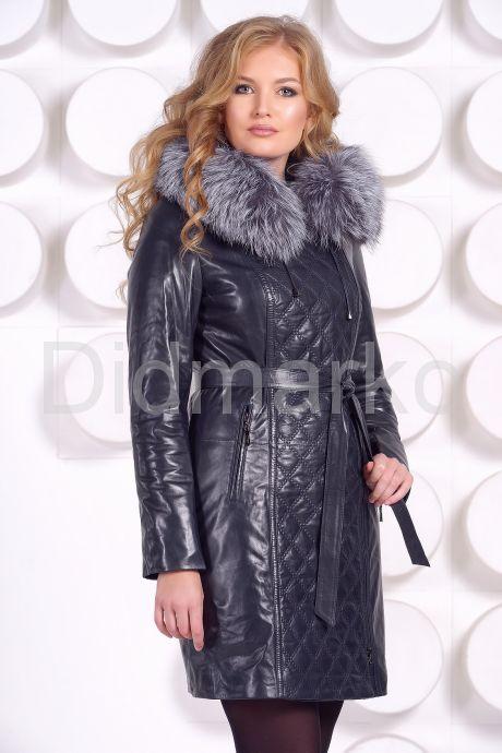 Синее кожаное пальто с капюшоном и мехом чернобурки. Фото 2.