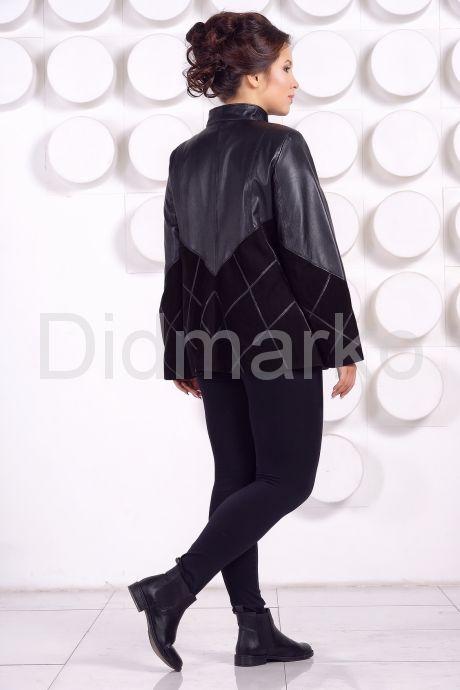 Комбинированная кожаная куртка больших размеров