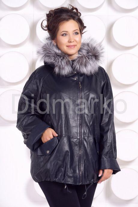Кожаная куртка с мехом больших размеров WOMAN. Фото 2.