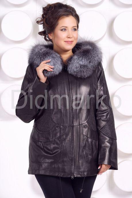 Удлиненная кожаная куртка с мехом чернобурки. Фото 2.